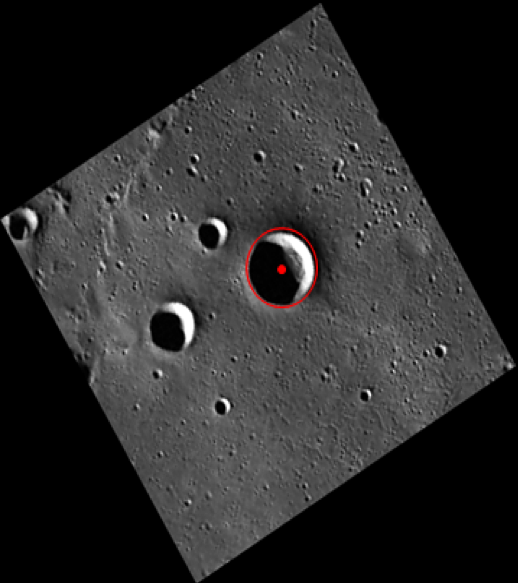 Image of Angelou crater acquired by the MESSENGER spacecraft.